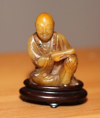 Antique Chinese Qing carved Soapstone Buddha, Signed, 19th Century PROVENANCE