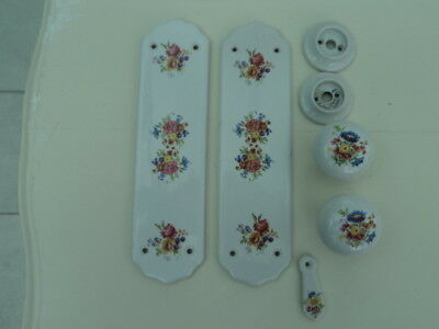 Vintage Ceramic Door Knobs Finger Plates And Escutcheon