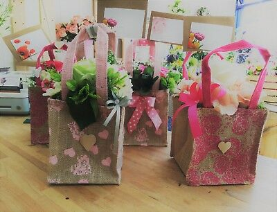 Gift Bag Bouquet Artificial Silk Flower Hessian Vintage Gift Delivered Mum Faux
