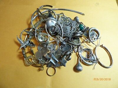 Lot 925 Sterling Silver Jewelry and miscellanous  AS IS FOR SCRAP 300 gtw