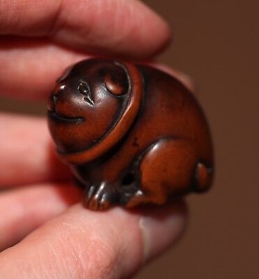 Antique Japanese carved boxwood Netsuke of a Puppy, 19th Cent, Meiji PROVENANCE.