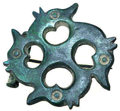 Roman Bronze Swastika Brooch Fibula Dragon's Heads