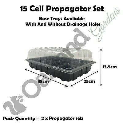 2 X Full Size Propagator Set, Lids Seed Trays + 15 Cell Inserts With or No Holes