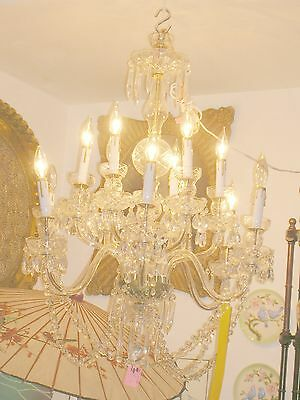 Exquisite French Crystal and Czech Bobesche 12 Blown Glass Arm Chandelier