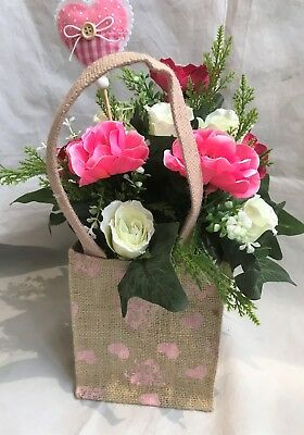 Mothers Day Artificial Silk Flower Gift Bag Bouquet Hessian Vintage Anemone