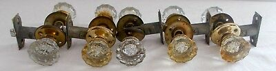 5 Sets Of Antique Vtg Glass Door Knobs 12 Point Architectural Salvage Reclaimed