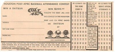 Rare Houston Colt .45s Attendance contest entry form from 1963 season!