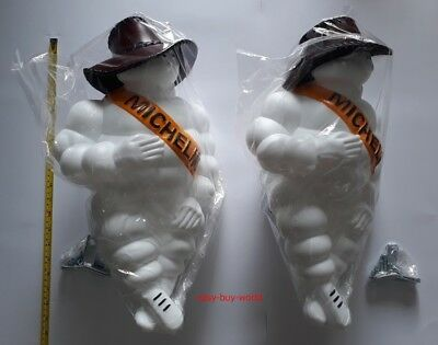 "2x17"" MICHELIN MAN DOLL FIGURE VINTAGE BIBENDUM TIRE Leather Hat + LED Light"