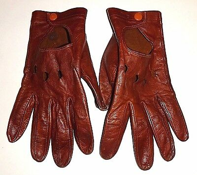 60's Vintage Women's Rust-Tan Leather Driving Gloves S/M