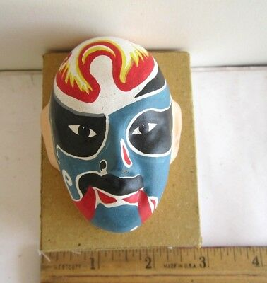 "Vintage China Beijing Opera Mask #3, Hand Makeup In Clay New W/ Old Box 3""x 2"""