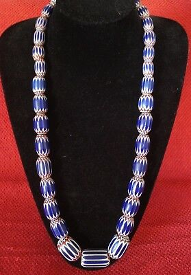 Antique Venetian Chevron African Trade Beads  6 Layer Glass Necklace