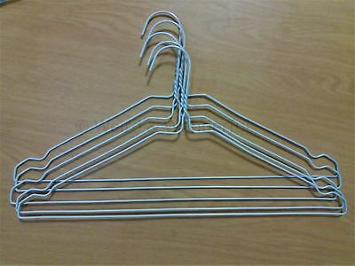 1/100/500 Notched White Strong Metal Wire Hanger Clothes, Dress - FREE P&P