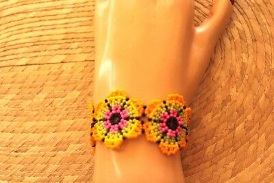 Unique-Mexican-huichol-Bracelet-Art-Beaded-Adjustable-Jewelry-Hand-Made B-027