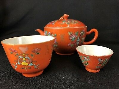 Qing Dynasty Chinese Porcelain Teapot and 2 Tea Bowls, Orange, Seal