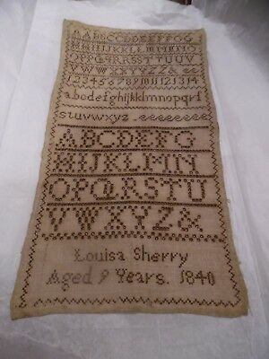 Louisa Sherry Sampler Aged 9 years 1840