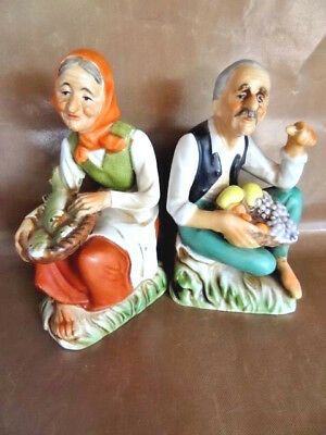 Vintage Japanese Couple, Each With Baskets, Porcelain