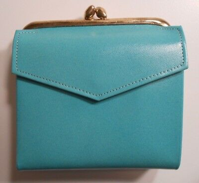 Vintage Princess Gardner French Wallet Coin Purse Turquoise Leather Unused
