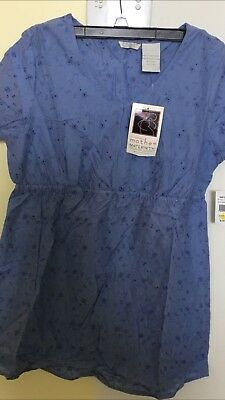 NWT TOMORROWS Mother's Maternity Top Size Small , Blue Eyelet ?Could Be Uniform