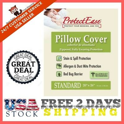 Protectease Classic Zippered Pillow Cover Secure Non-Woven Allergen Dust Mite .