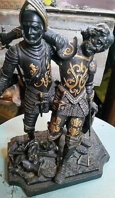Superb Victorian Spelter Statue of Battled Medieval Knights - late 19thc