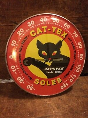 Cat Tex Soles Thermometer Shoes Boots Sign Vintage Cat  Gas Pump Station Store