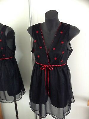 AUTHENTIC 70s 60s vintage lingerie dress black lace red slip fit size 14 12 M L