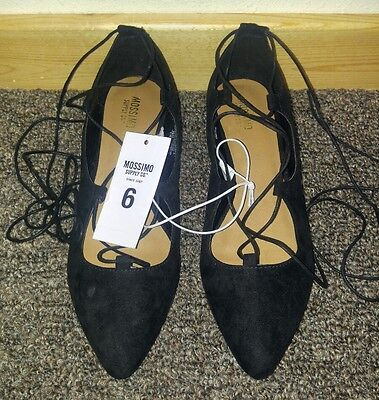 7e6d67051 Women's Mossimo Kady Pointed Toe Lace Up Ballet Flats Black Size 6 NWT