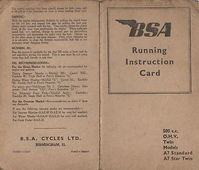 Original BSA Running Instruction Card Book for the 500cc OHV A7 Standard A7 S
