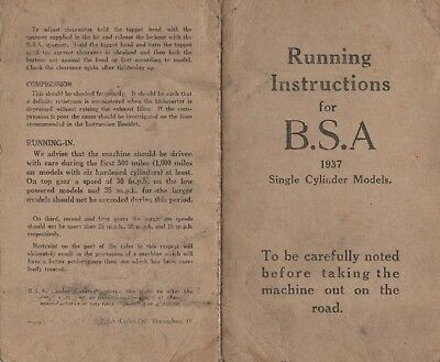 Original BSA Running Instruction Card Book for the Single Cylinder Models 1937
