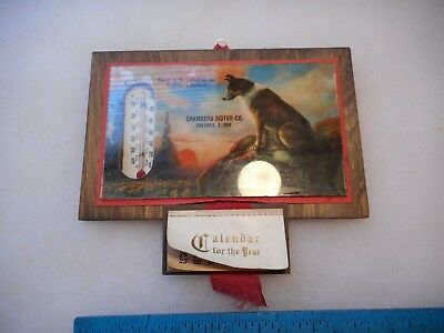 Vintage Adv. Thermometer Dog Photo Chambers Motor Co. 1931 Gregory,sd
