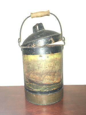 ANTIQUE 1800's BRASS & METAL WEIGHTED SHIPS FIRE BUCKET WITH LID & CLIPPER SHIP
