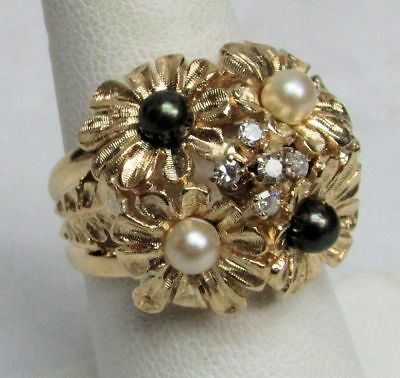 Wonderful Vintage 14K Solid Gold 3D Flower Ring With Pearls & Diamonds Size 7.25