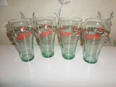 Vintage Coca-Cola Christmas Soda / Bell Green Glasses Set of 4 Libby Glasses