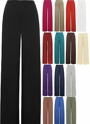 Womens Plain Baggy Palazzo Trousers Ladies Wide Leg Flared Trousers Pants 8-26