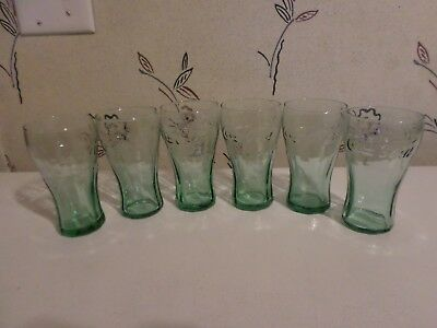"Vintage Coca-Cola Green Glasses Set of 6 Libbey Glass 4oz 4-1/2"" x 2-1/2"""