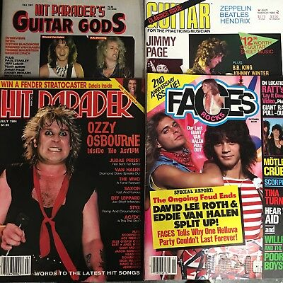 Hit Parader Faces Magazine Lot Heavy Metal Kiss Ozzy Van Halen Near Mint Cond.