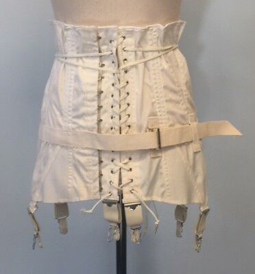 Vintage Corset 1930's high waisted plus size 38 boned garters ivory dead stock