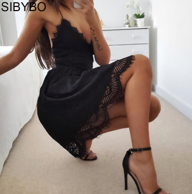 Sibybo Backless Spaghetti Strap Sexy Lace Dress Women Sleeveless V-Neck Loose Su