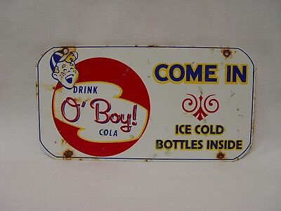 Drink O'Boy Cola Small Metal Come In Advertising Tin Door Push Soda Sign