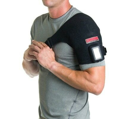 Venture Heat Therapeutic Shoulder Wrap IR Pain Relief Sz M Heated Rchrg Box Dmg