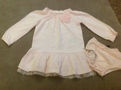baby gap girls pink dress with matching knickers age 12/18 months
