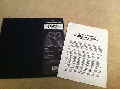 lp WILLIAM S BURROUGHS spare ass annie & other tales LTD EDITION + release sheet