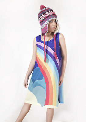Vintage Rainbow  -  Girls dress  - size 2-12 - FREE DELIVERY - Designed by deezo