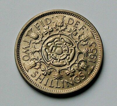 1953 UK (British) Elizabeth II Coin - 2 Shillings (Florin) - UNC - toned-lustre