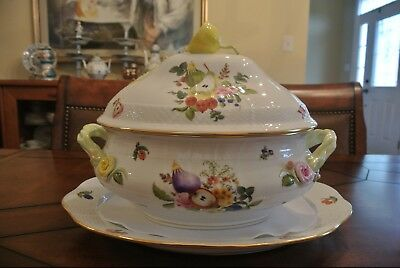Beautiful Herend Fruits & Flowers Large Tureen with Serving Plate Excellent Cond