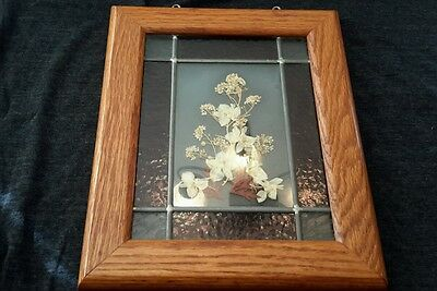 Stained Glass Picture Flower in Wood Frame
