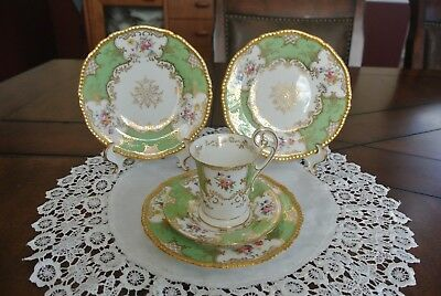 Antique COALPORT Green PANEL BATWING Chocolate Cup And Saucer