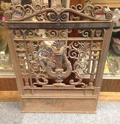 Antique FirePlace Door Grill Wrought Iron Hearth Ornate