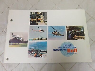Bell Military Commercial Helicopter Brochure Specifications Vintage RARE