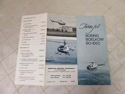 Boeing Boelkow BO-105C Helicopter Brochure Specifications Trifold Vintage RARE